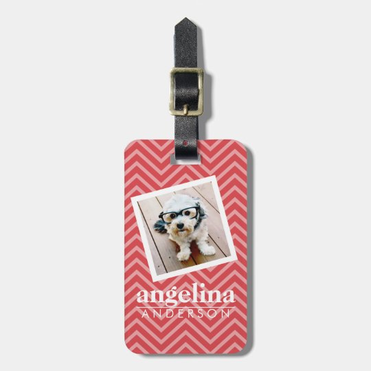 Photo with Red Chevron Pattern Custom Name Luggage