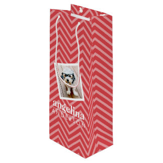 Photo with Red Chevron Pattern Custom Name Wine Gift Bag