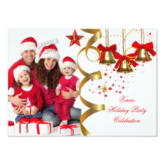 Photo Xmas Holiday Christmas Party Gold Red Black Card