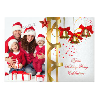 Photo Xmas Holiday Christmas Party White Gold Red Card