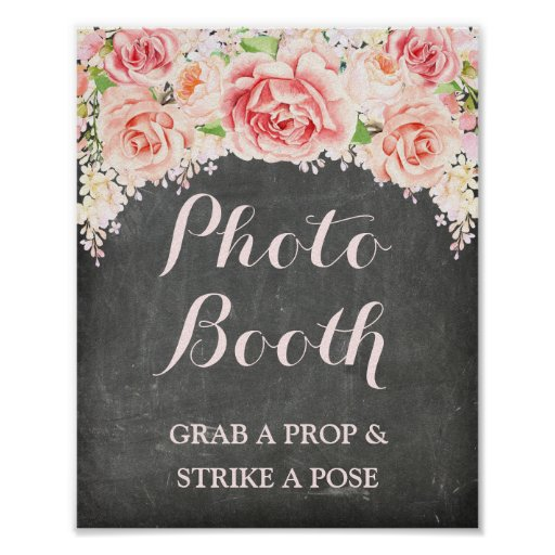Photobooth Wedding Sign Pink Watercolor Chalkboard