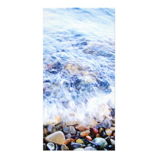Photocard blue water and a little wave picture card