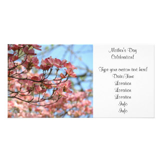 Photocard Pink Dogwood Invitation Mother's Day Photo Greeting Card