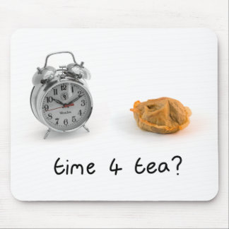 "photograph and hand written ""time 4 tea"" mousepad"