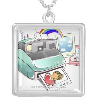 Photograph coming out of an instant camera silver plated necklace