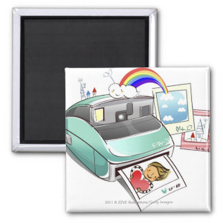 Photograph coming out of an instant camera square magnet