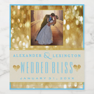 Photograph Elegant Gold and Blue Wedding Wine Label