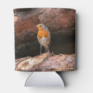 Photograph of a robin sitting on logs can cooler