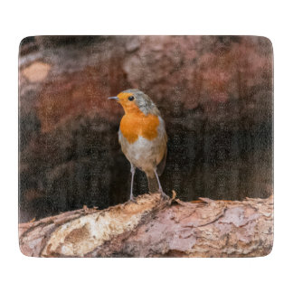 Photograph of a robin sitting on logs cutting board