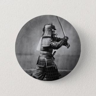Photograph of a Samurai C. 1860 6 Cm Round Badge