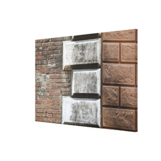 Photograph of an old brick wall in Siena Italy. Canvas Print