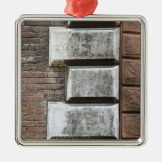 Photograph of an old brick wall in Siena Italy. Silver-Colored Square Decoration