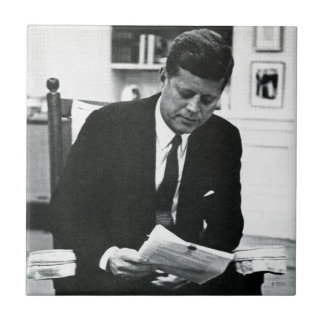 Photograph of John F. Kennedy 2 Small Square Tile