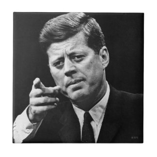 Photograph of John F. Kennedy 3 Small Square Tile