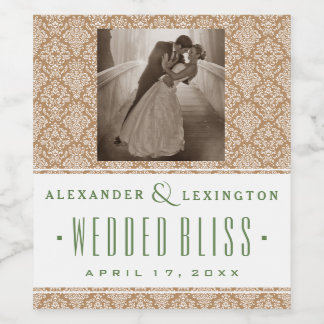 Photograph With Damask Natural and Green Wedding Wine Label