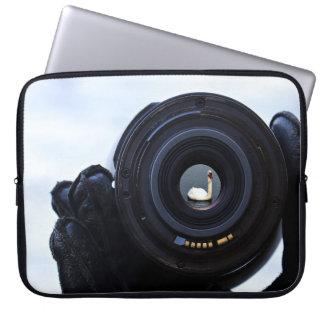 Photographer and swan laptop sleeve
