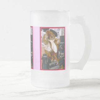Photographer Bear Frosted Glass Beer Mug
