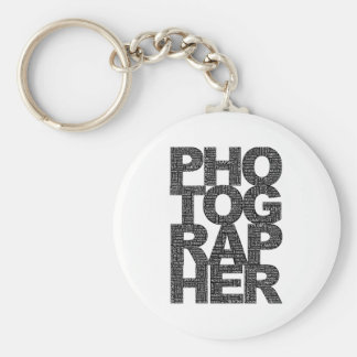 Photographer - Black Text Basic Round Button Key Ring