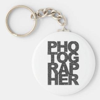 Photographer - Black Text Basic Round Button Key Ring