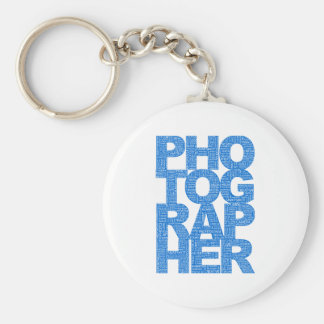 Photographer - Blue Text Basic Round Button Key Ring