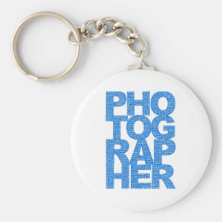 Photographer - Blue Text Keychains