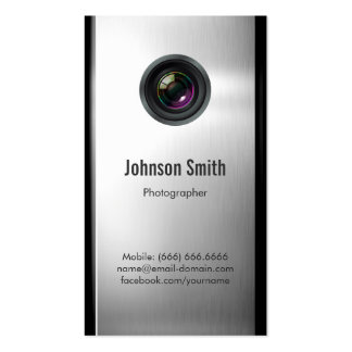 Photographer - Camera Lens in Silver Metallic Look Pack Of Standard Business Cards