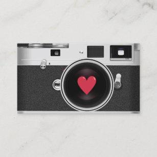 Photography business card zazzle uk photographer camera red heart photography business card reheart Images