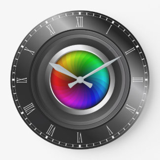 Photographer Color Wheel Camera Lens Large Round Clocks