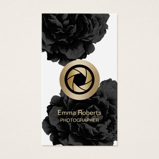 Wedding photography business cards business card printing zazzle uk photographer gold camera black floral photography business card reheart Image collections