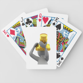 photographer golden camera bicycle playing cards