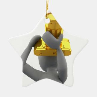 photographer golden camera ceramic star decoration