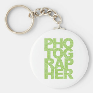 Photographer - Green Text Basic Round Button Key Ring