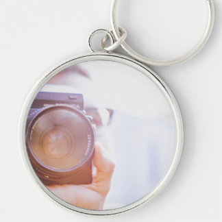 photographer Silver-Colored round key ring
