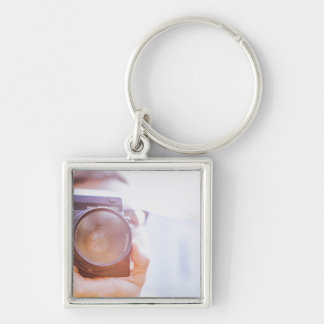 photographer Silver-Colored square key ring