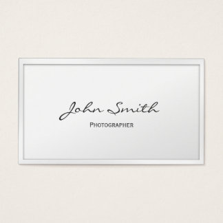 Photographer Minimalist White Border Professional Business Card
