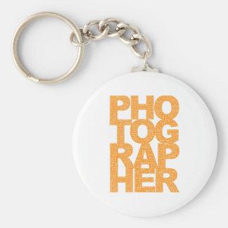 Photographer - Orange Text Basic Round Button Key Ring