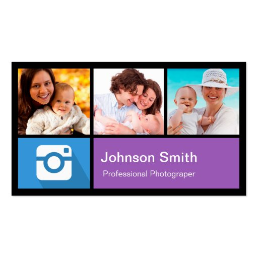 Photographer Photo Frame Collage - Metro Style Business Card Template