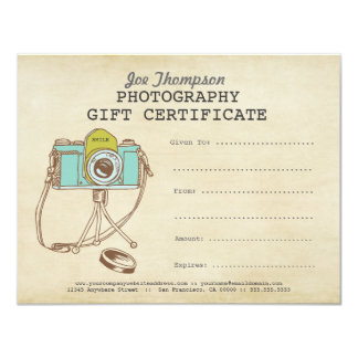 Photographer Photography Gift Certificate Template Card