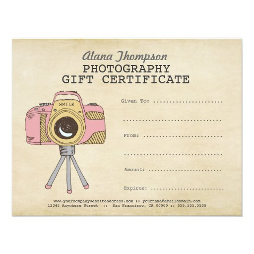 Photographer Photography Gift Certificate Template Personalized Invite