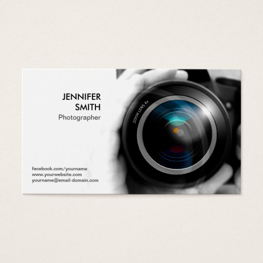 Photographer Photojournalist Camera Lens Studio Business Card