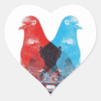 Photographer Pigeon Spy Screenprinted Heart Sticker
