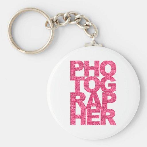 Photographer - Pink Text Keychain