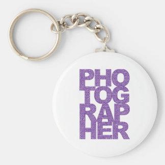 Photographer - Purple Text Basic Round Button Key Ring