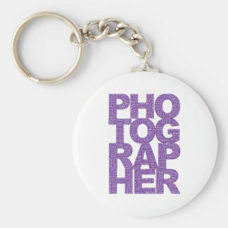 Photographer - Purple Text Basic Round Button Key Ring