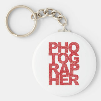 Photographer - Red Text Basic Round Button Key Ring
