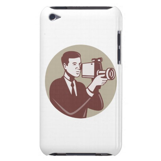 Photographer Shooting Video Camera Retro Barely There iPod Cover