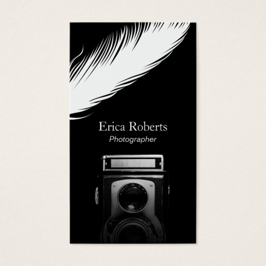 Photographer White Feather Old Camera Photography Business Card