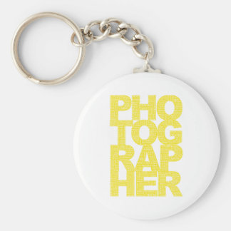 Photographer - Yellow Text Basic Round Button Key Ring