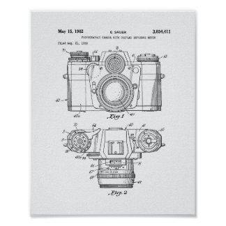 Photographic Camera 1959 Patent Art - White Paper Poster