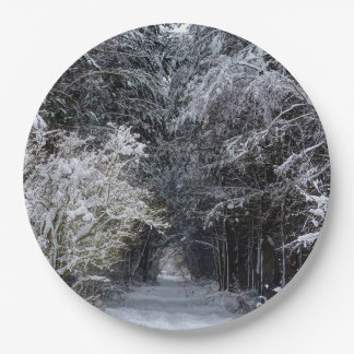 Photographic Christmas snow landscape paper plate